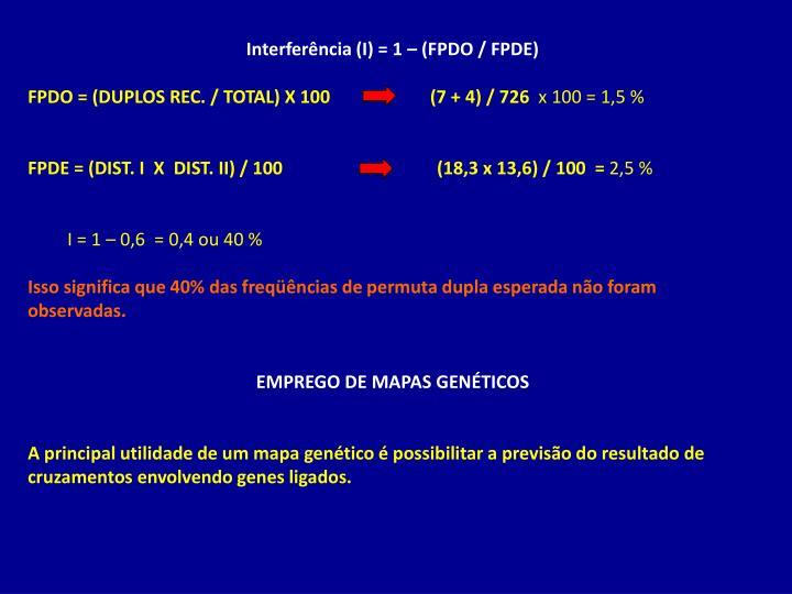Interferência (I) = 1