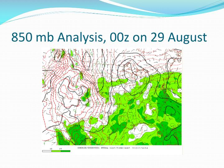 850 mb Analysis, 00z on 29 August