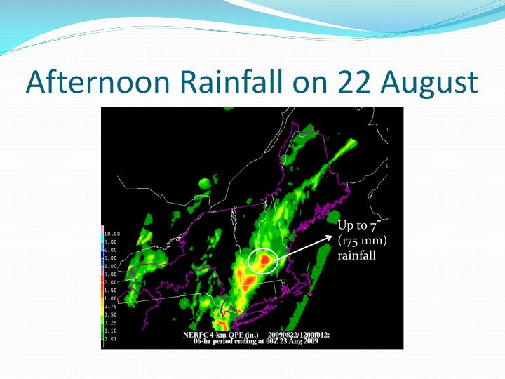 Afternoon Rainfall on 22 August