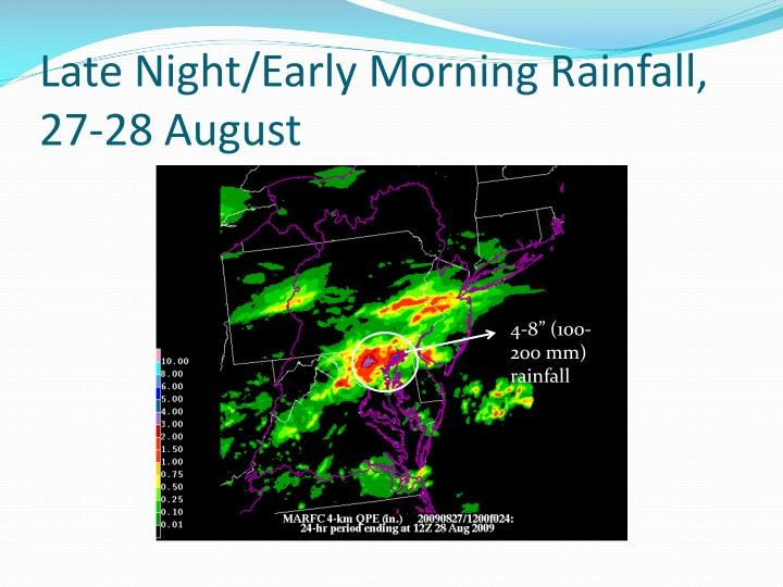 Late Night/Early Morning Rainfall, 27-28 August