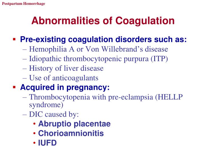 Abnormalities of Coagulation
