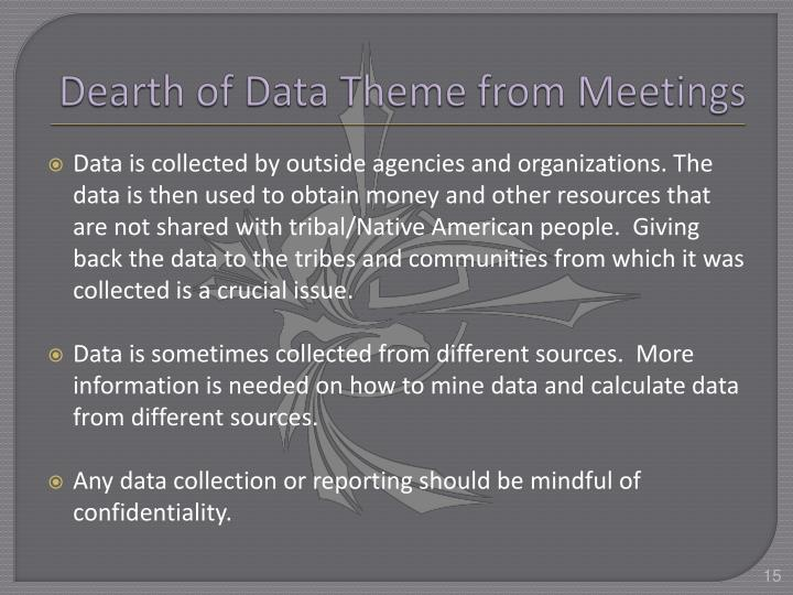 Dearth of Data Theme from Meetings
