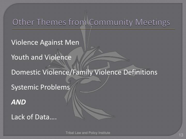Other Themes from Community Meetings