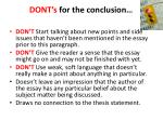 dont s for the conclusion