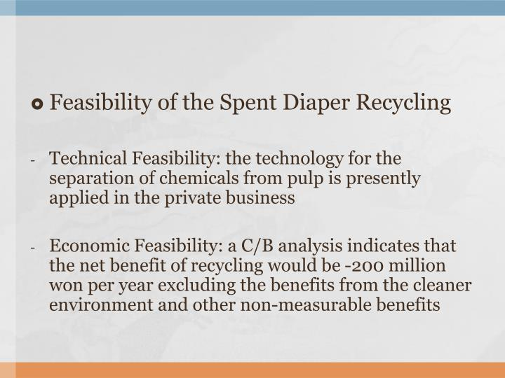 Feasibility of the Spent Diaper Recycling