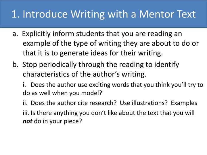 1. Introduce Writing with a Mentor Text