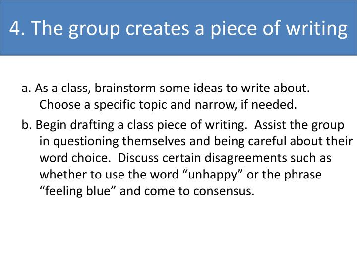 4. The group creates a piece of writing