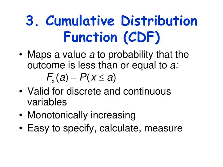 3. Cumulative Distribution Function (CDF)