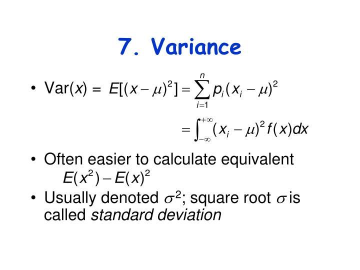 7. Variance