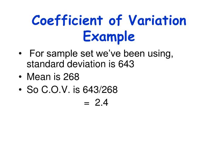 Coefficient of Variation Example