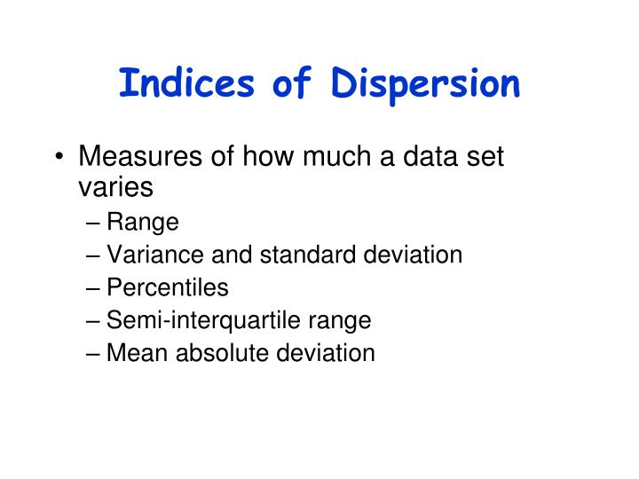 Indices of Dispersion