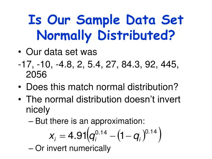 Is Our Sample Data Set Normally Distributed?