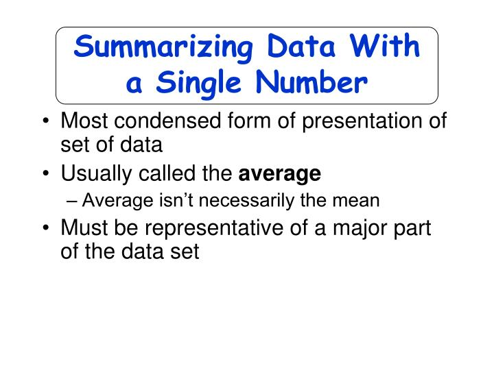 Summarizing Data With
