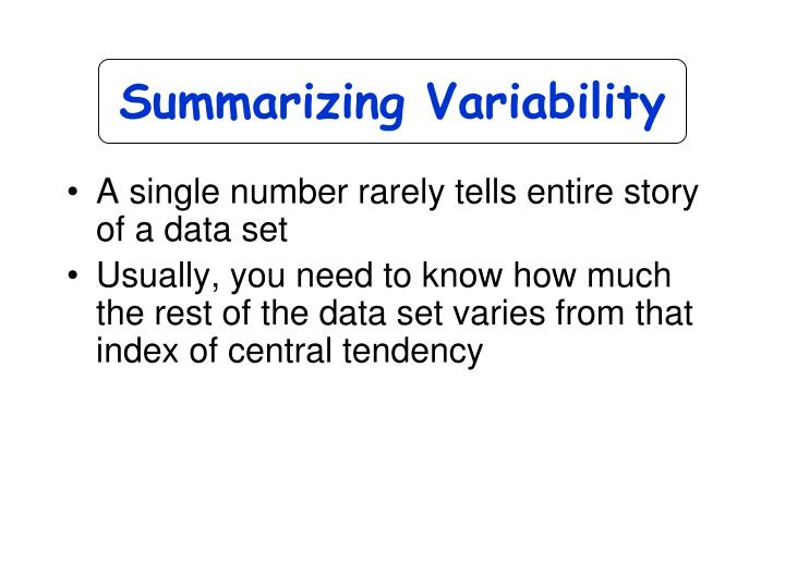 Summarizing Variability