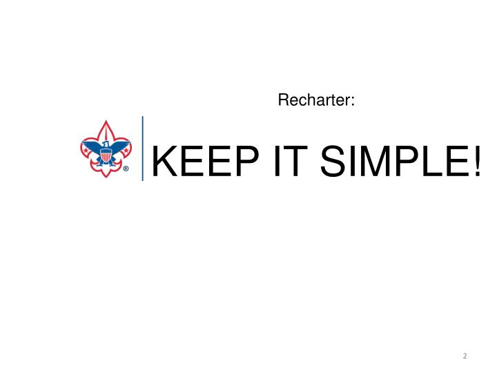 Recharter keep it simple