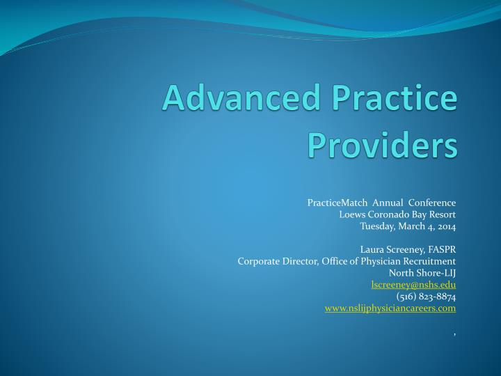 Advanced practice providers