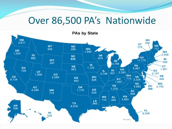 Over 86,500 PA's  Nationwide