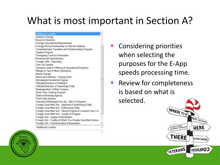 What is most important in Section A?