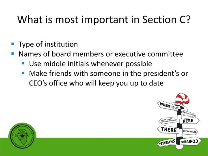 What is most important in Section C?