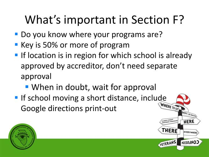What's important in Section F?