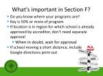 what s important in section f1