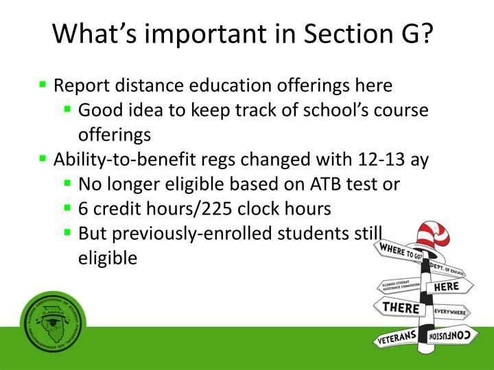 What's important in Section G?