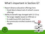 what s important in section g