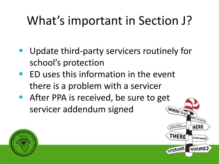 What's important in Section J?
