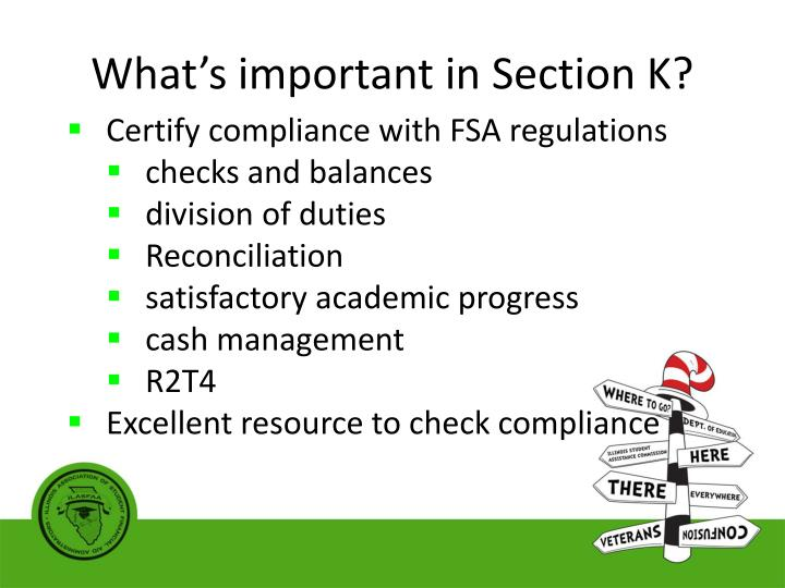 What's important in Section K?