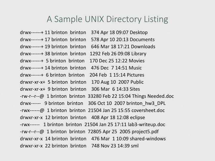 A Sample UNIX Directory Listing