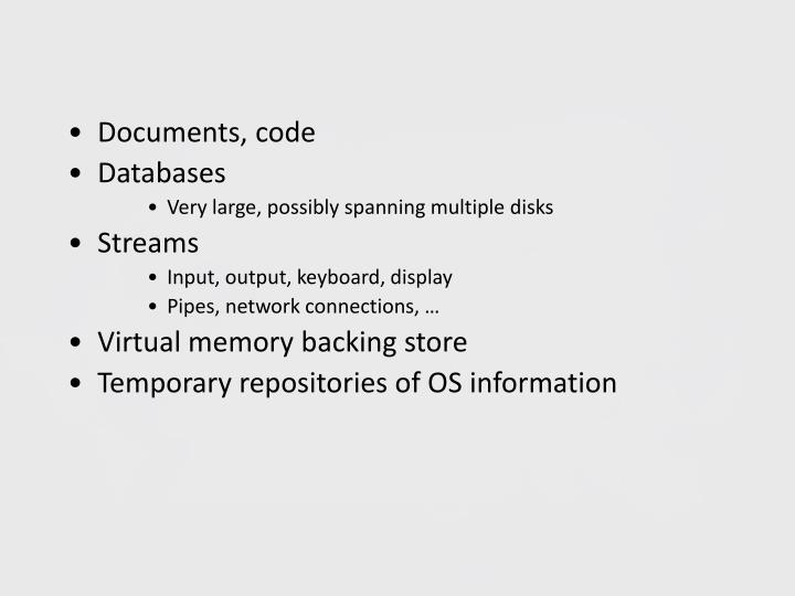 Documents, code