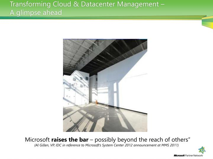 Transforming Cloud & Datacenter Management –