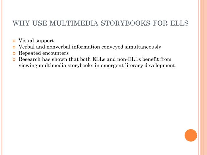 why use multimedia storybooks for ells