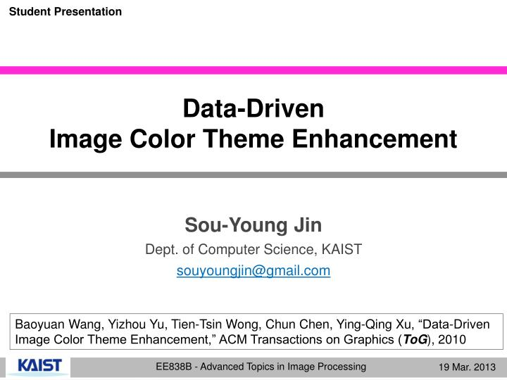 Data driven image color theme enhancement