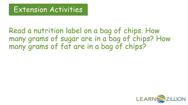 Read a nutrition label on a bag of chips. How many grams of sugar are in a bag of chips? How many grams of fat are in a bag of chips?