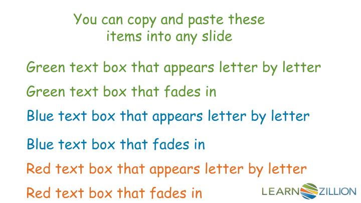 You can copy and paste these items into any slide