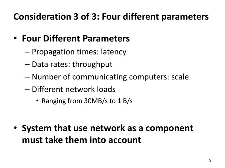 Consideration 3 of 3: Four different parameters