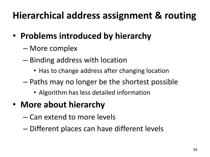 Hierarchical address assignment & routing