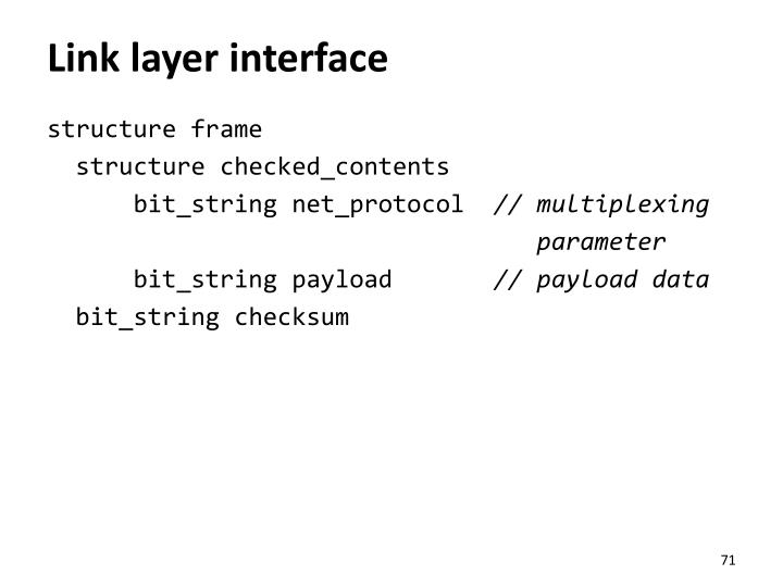 Link layer interface
