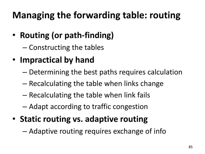 Managing the forwarding table: routing