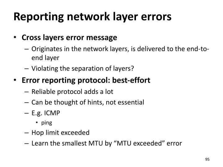 Reporting network layer errors