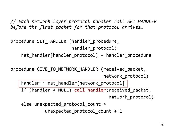 // Each network layer protocol handler call SET_HANDLER before the first packet for that protocol arrives…