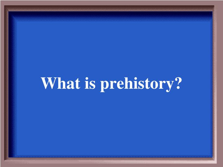What is prehistory?