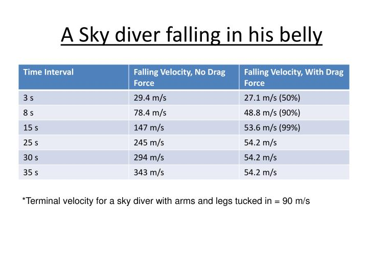 A Sky diver falling in his belly