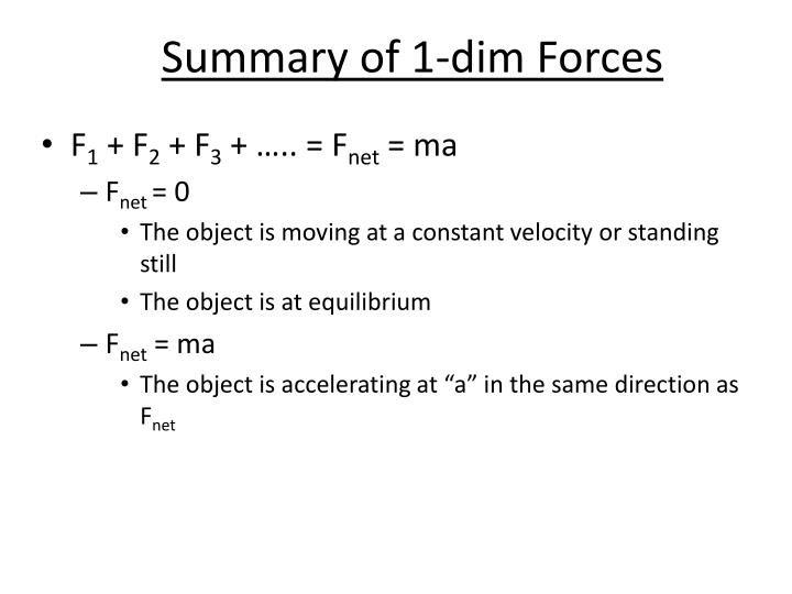 Summary of 1-dim Forces