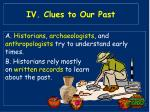 iv clues to our past