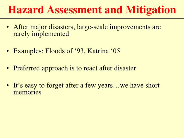 Hazard Assessment and Mitigation