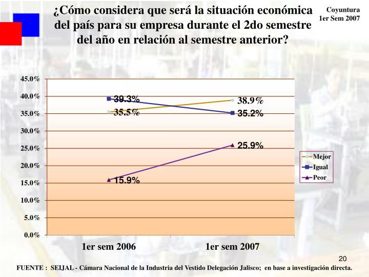 ¿Cómo considera que será la situación económica del país para su empresa durante el