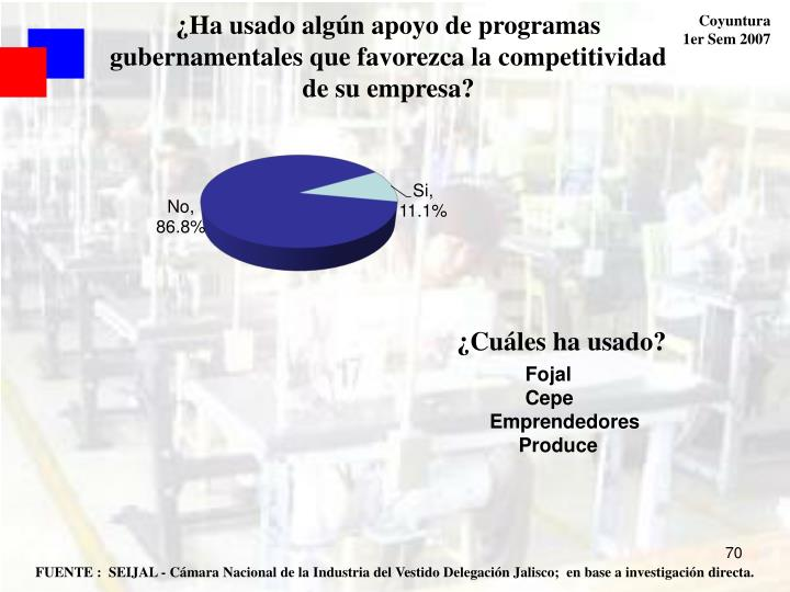 ¿Ha usado algún apoyo de programas gubernamentales que favorezca la competitividad de su empresa?
