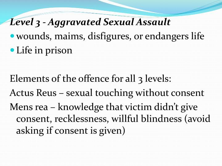 Level 3 - Aggravated Sexual Assault